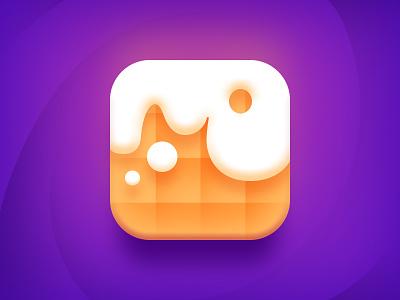 Waffle iOS Icon recipes sweets tasty orange branding app colorful ios icon mark logo waffle