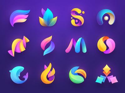 Logo Collection logotypes branding ball letter petals fish icon design mark logotype collection logo