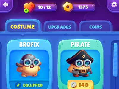 Brofix Shop Screen upgrades costume gameart characters wizard pirate vampire gui ui shop game