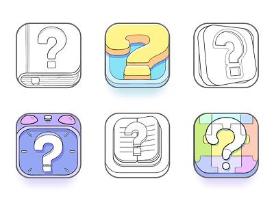 App Icon Sketches appicon trivia quiz game design ios icons sketches sketch mark question