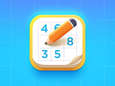 Sudoku App Icon paper pencil ios game sudoku appicon design icon app