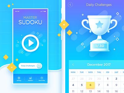 Sudoku Game Design logic iphone x trophy interface ux ui design clean game sudoku app
