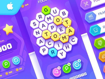Word Search Game letter concept interface ux ui design puzzle game search word app