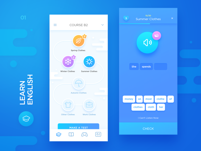 Learn English purple gradient colorful clean icon words courses xd iphone x exercises course ux education blue game interface ios design ui app