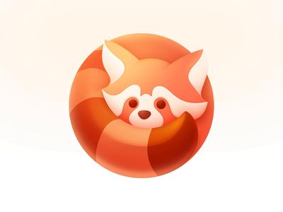Red Panda Logo circle application character animation tail neststrix branding appicon app icon logotype character animation mark animal logodesign design logo cute red panda
