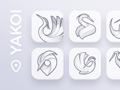 Yakoi App Icon Sketches map pin app bird idea concept branding character process sketches sketch logodesign design mark icon app icon logotype logo animal heron