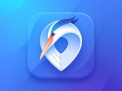 Yakoi App Icon amsterdam travel map pin bird idea concept branding character location blue color render logodesign mark icon logotype logo animal heron