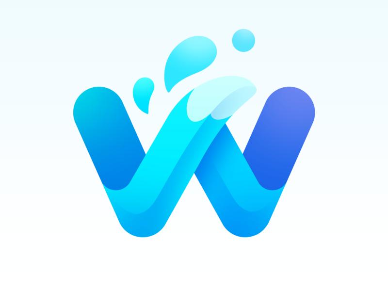 Waterfox New Logo wave waterfox water w tail neststrix mark logotype design logotype logodesign logo lettering letter icon gradient fox design branding blue animal