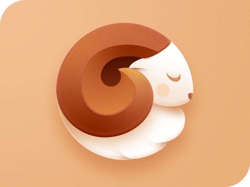 Cute Ram Icon identity color beige ios appicon logodesign mark logotype branding brand app cute horns horn head animal ram design icon logo