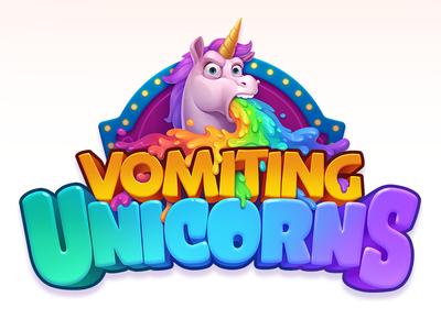 Vomiting Unicorns pank policeman creature illustration cute animal slots gameart rainbow motion animation game slot unicorn art design characters character unicorns logo