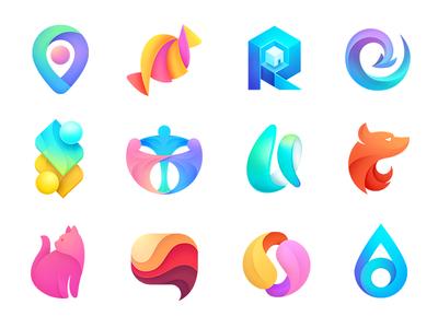 Logo collection speech gradient helix petal geometry location color water drop cat candy arrow fox lettering icon branding mark logotype design ogo