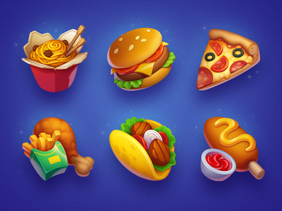 Food Icons symbol slot icons icon game fast food asset strawberry carrot taco pizza illustration hamburger food corndog chips chicken burger art fastfood