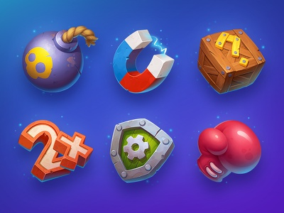 Brofix Game Icons box bomb fight concept neststrix shield score powerup object mystery magnet icon gloves element boxing asset art icons game illustration