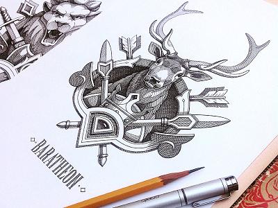 Game of Thrones - Emblems branding logotype game logo lannister stark targaryen lion illustrator illustration gameofthrones emblems emblem drawing design deer coatofarms
