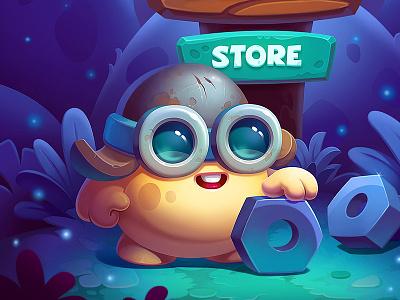 Brofix UI mobile menu home screen loading space planet cute game gui environment enemies gameplay interface ui creatures characters art