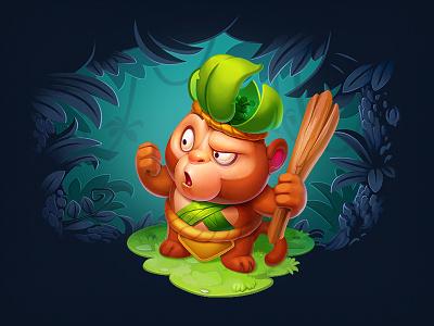 Treasure Hunter illustration art shaman jungle wild warrior wizard tiger monkey enemies hero hunter game adventure cute colorful sketch animal concept character