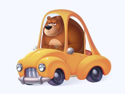Bear Driver yellow neststrix motion illustration game art game driver digital concept design character cg car bear art animation animal after effects 2d
