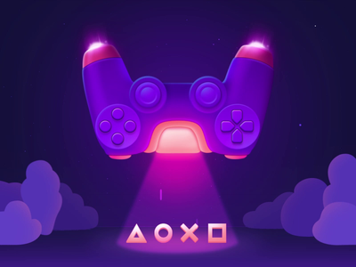Space Dualshock 4 ufo spaceship space ps4 planet motion illustration icon graphic gif games gamepad game dualshock4 dualshock design controller art animation 2d