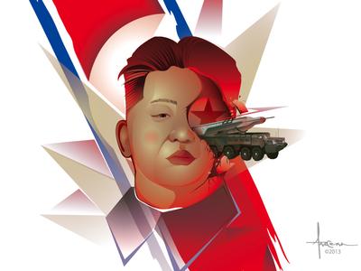 Kim Jong Un © Orlando Arocena 2013 vector illustrator orlando arocena kim jong un nuclear threat political art north korea
