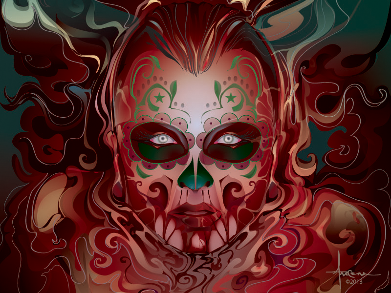 Dia De Los Muertos ~  Orlando Arocena 2013 Drb vector adobe illustrator orlando arocena dia de los muertos day of dead halloween sugar skull sexy blood bath