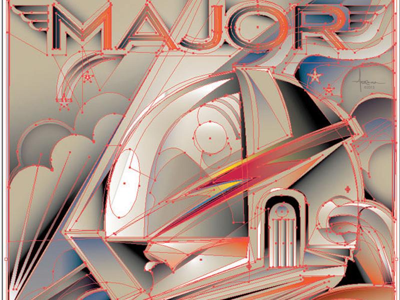 Major Tom  by  Orlando Arocena 2013 vector adobe illustrator orlando arocena major tom david bowie aladdin sane space oddity spaceman astronaut deco