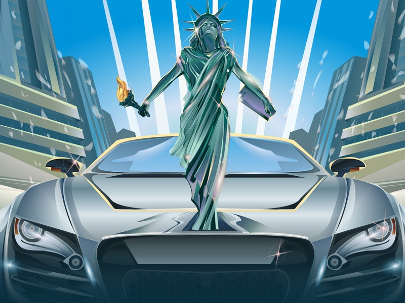 2013 New York International Auto Show © Orlando Arocena vector new york auto show statue of liberty sexy cars illustrator orlando arocena