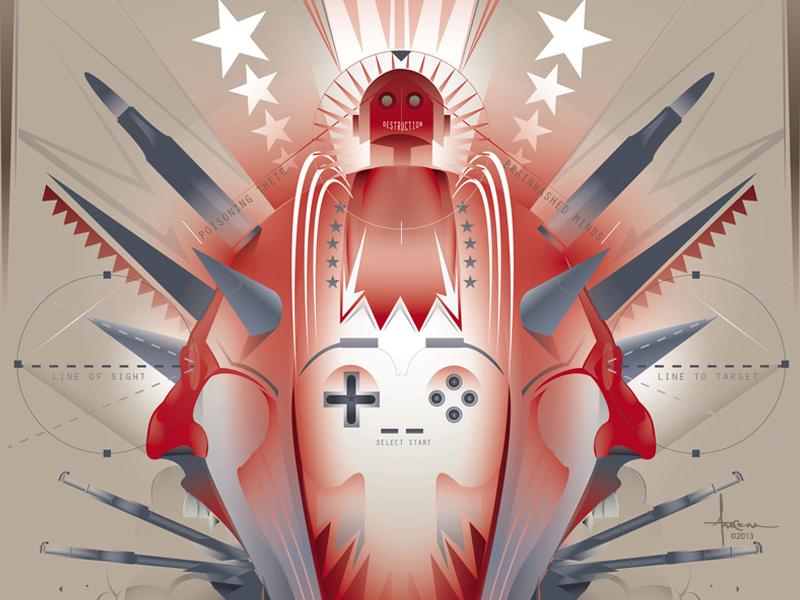PLAYED in the USA © Orlando Arocena 2013 vector adobe illustrator orlando arocena guns violence gaming skull faces robot child spikes dangerous
