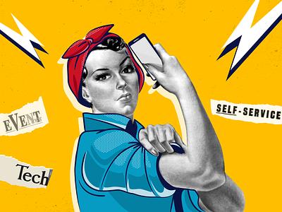 Collage for blog article attendify tech vintage cover woman comicsart comics retro light empower power planner