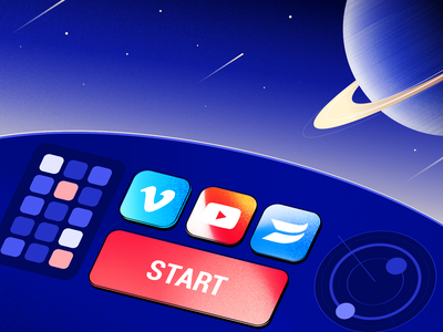 Cover for blog earth stars device launch start wistia vimeo youtube buttons social navigator attendify nasa sky saturn planets space