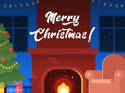 Merry Christmas! xmas illustration night gift home winter christmas tree santa new year holiday christmas