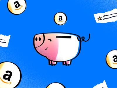 Piggy bank noise gradient illustrator sketch illustration email star graphic coin pig review card amazon piggy bank