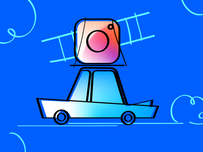 Moving to Instagram attendify road moving stairs blue graphic design graphic illustraion illustrator sketch gradient car instagram