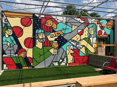 Vector Brewing Mural craftbeer dallas handpainted mural pizza beer