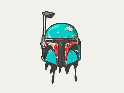 Boba Fett boba fett starwars head illustration vector character all the pretty colors atpc design nathan walker
