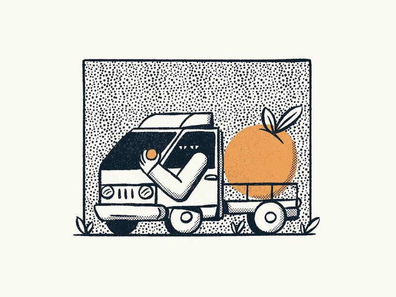 Jeju Oranges line art cute truck sketch jeju island jeju island oranges illustration nathan walker