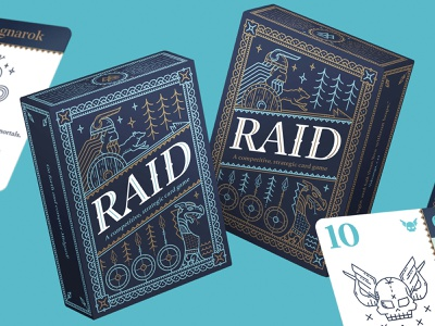 Raid Card Game all the pretty colors nathan walker norse mythology line art illustration game design game packaging