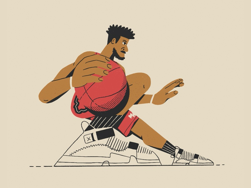 Jimmy Butler jordans sneakers athlete illustration all the pretty colors nathan walker character jimmy butler basketball miami heat nba