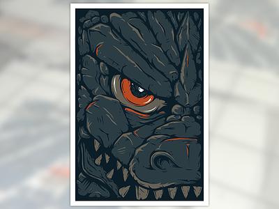 Strange Beasts 2: Godzilla print screen print poster godzilla monster kaiju atpc all the pretty colors nathan walker illustration