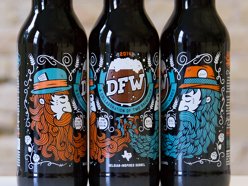 DFW: A Collaboration of Two Breweries lakewood rahr beer label brewery beard nathan walker illustration dfw