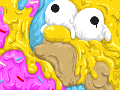 Drip Series Homer - No Lines nathan walker all the pretty colors donut the simpsons illustration drip series homer simpson