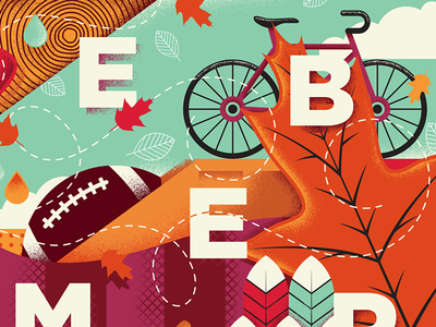 Magazine Illustration all the pretty colors atpc design nathan walker football bike illustration design fall