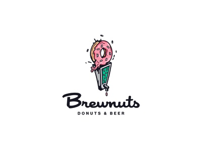 Brewnuts atpcdesign all the pretty colors nathan walker booze suds bakery tap beer donut logo
