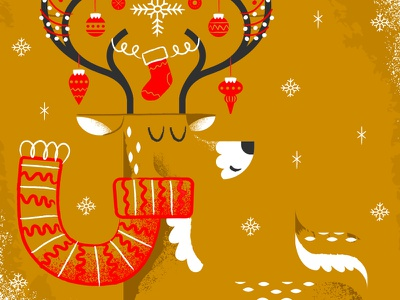 Reindeer Cheer all the pretty colors nathan walker winter scarf stocking ornaments snow reindeer christmas