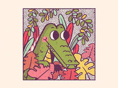Alligator Ashton animal cute children colorful texture retro alligator