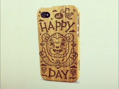 Oh Happy Day illustration character bird bear type lettering iphone atpc all the pretty colors nathan walker