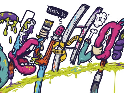SkyHigh lettering paint brushes design character colors atpc nathan walker all the pretty colors gross illustration drips
