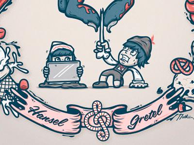 Hansel & Gretel book illustration candy food vector character atpc nathan walker childrens book atpcdesign hansel  gretel fairy tale