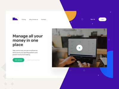 Manage Finance Landing Page clean ui money payment page finance bank