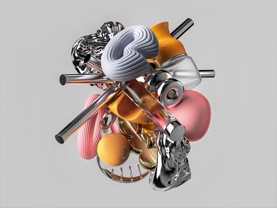 Bouquet illustration 3d composition abstract