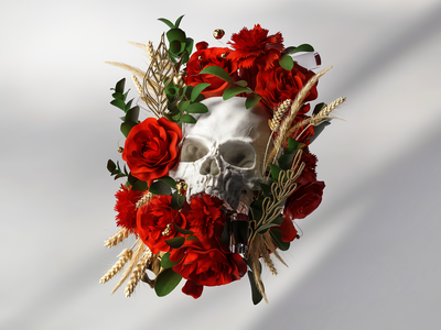 Abstract Skull Composition sculpting red roses organic skull composition